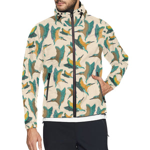 Kingfisher Pattern Print Design 02 Unisex Windbreaker Jacket