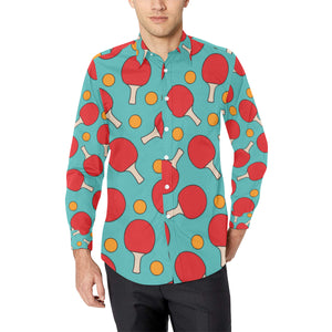 Ping Pong Pattern Print Design A01 Long Sleeve Dress Shirt