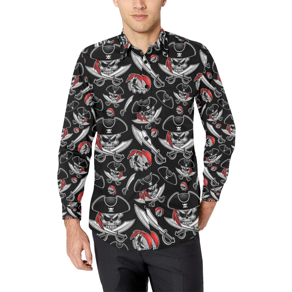 Pirate Pattern Print Design A05 Long Sleeve Dress Shirt