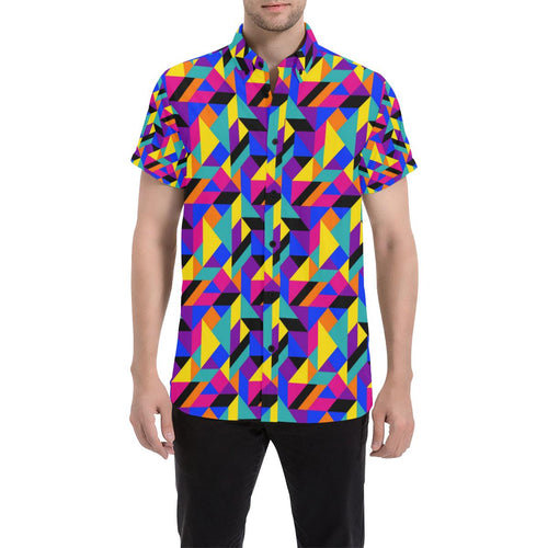 90s Colorful Pattern Print Design 1 Men's All Over Print Shirt (Model T53)-kunshirts.com