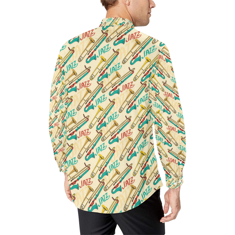 Trombone Pattern Print Design 03 Long Sleeve Dress Shirt