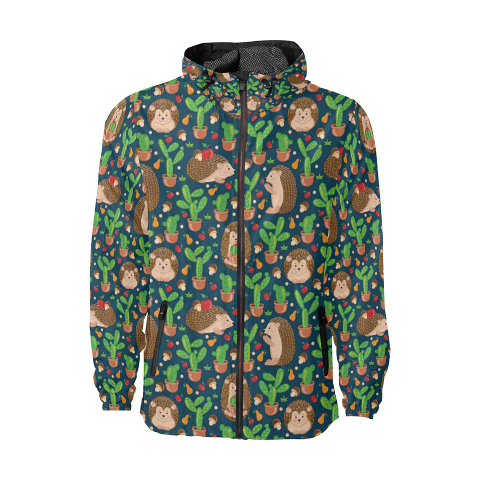Hedgehog Cactus Pattern Print Design 04 Unisex Windbreaker Jacket