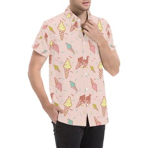 Ice Cream Pattern Print Design 02 Button Up Shirt