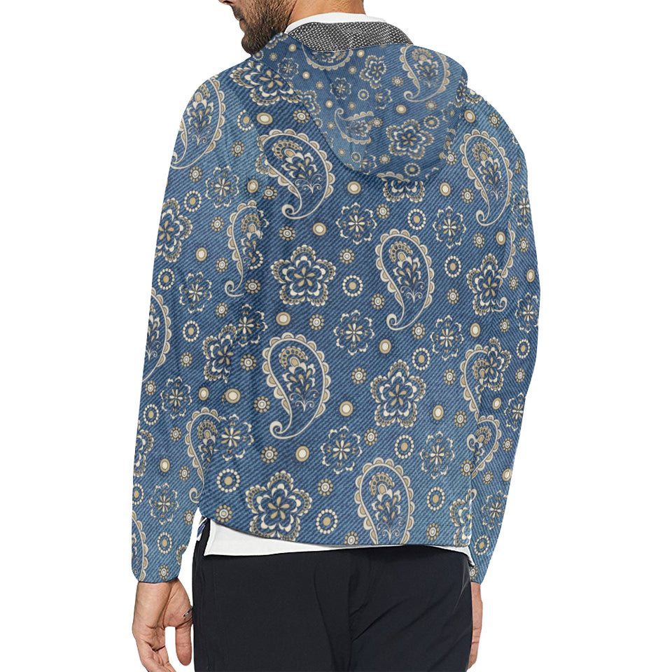 Jean Paisley Pattern Print Design 01 Unisex Windbreaker Jacket