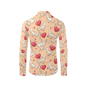 Pigeon Heart Pattern Print Design 04 Long Sleeve Dress Shirt
