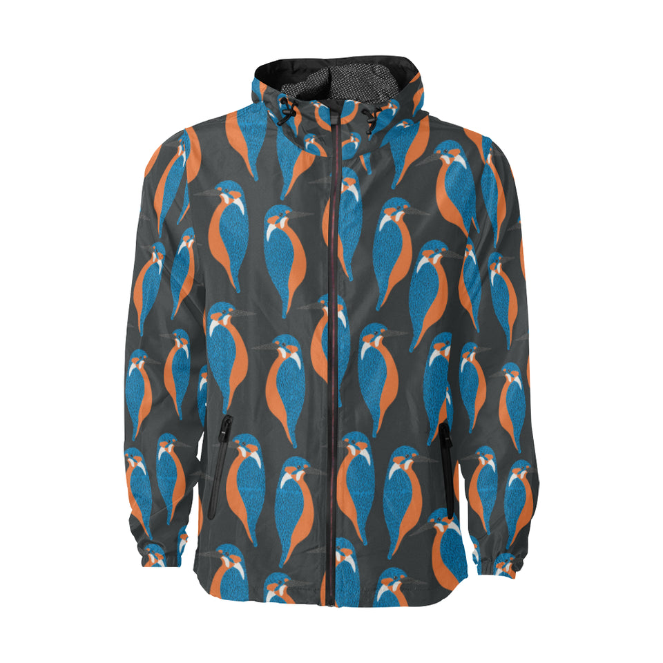Kingfisher Pattern Print Design 03 Unisex Windbreaker Jacket