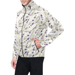 Lavender Pattern Print Design 01 Unisex Windbreaker Jacket