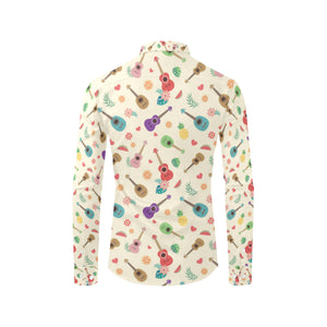 Ukulele Pattern Print Design 01 Long Sleeve Dress Shirt