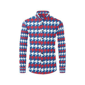 Patriotic Houndstooth Pattern Print Design A02 Long Sleeve Dress Shirt