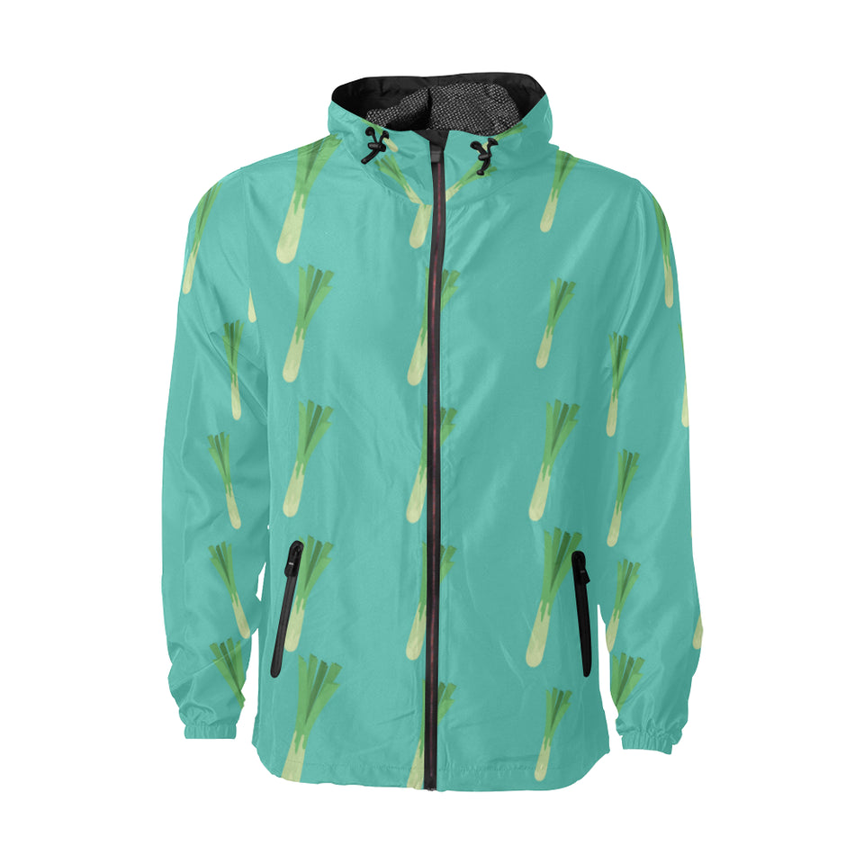 Leek Pattern Print Design 01 Unisex Windbreaker Jacket