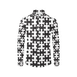 Puzzle Black White Pattern Print Design A02 Long Sleeve Dress Shirt