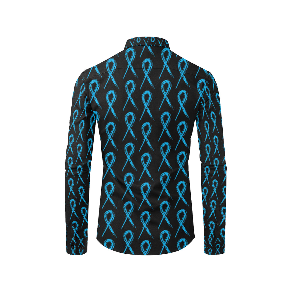 Prostate cancer Pattern Print Design A02 Long Sleeve Dress Shirt