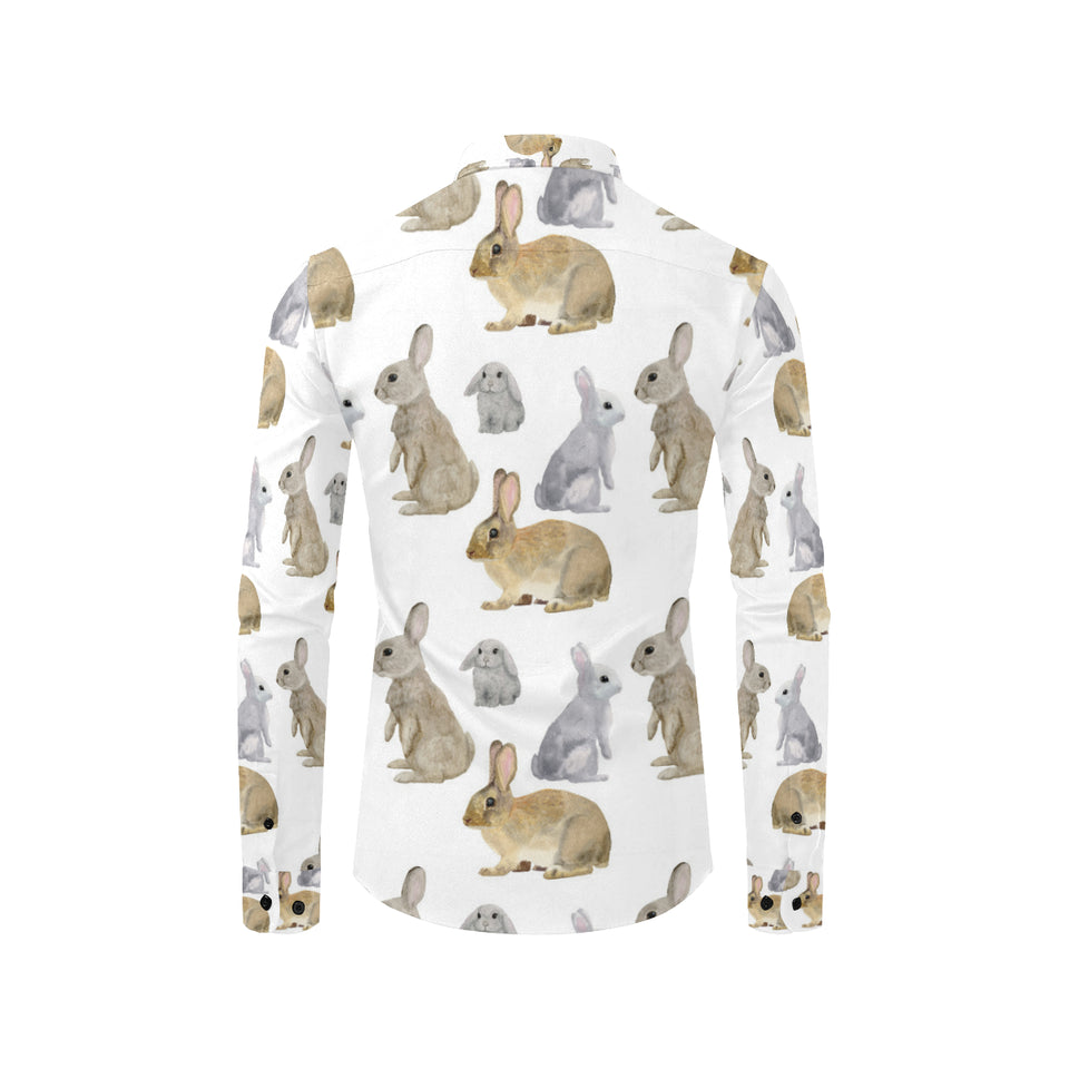 Rabbit Pattern Print Design 02 Long Sleeve Dress Shirt