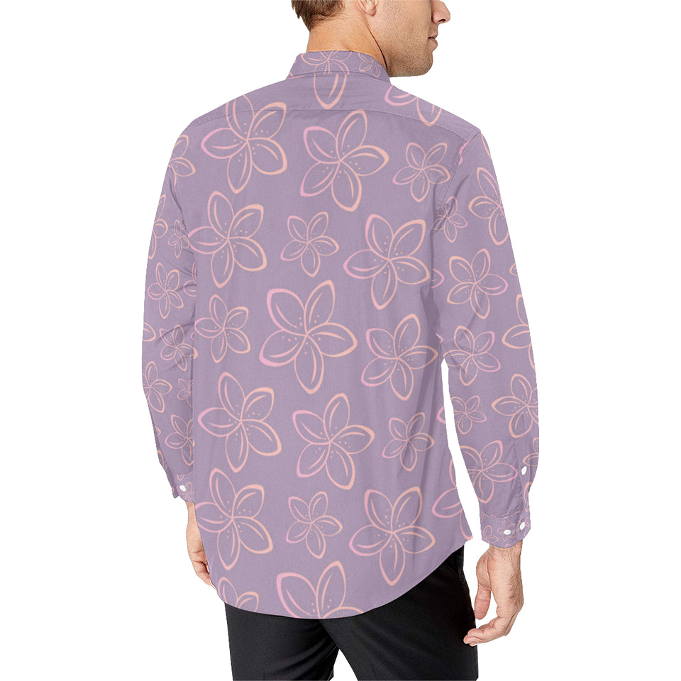 Plumeria Pattern Print Design A01 Long Sleeve Dress Shirt