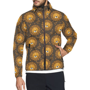 Lion Cartoon Pattern Print Design 01 Unisex Windbreaker Jacket