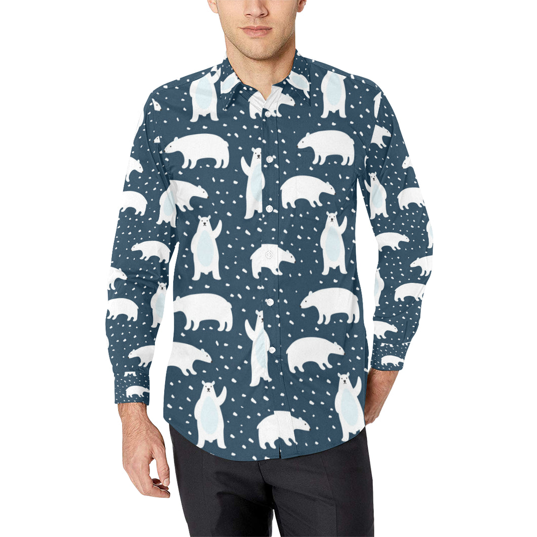 Polar Bear Pattern Print Design A02 Long Sleeve Dress Shirt