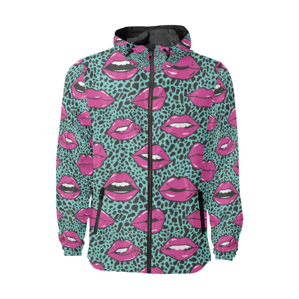 Lip Pattern Print Design 04 Unisex Windbreaker Jacket