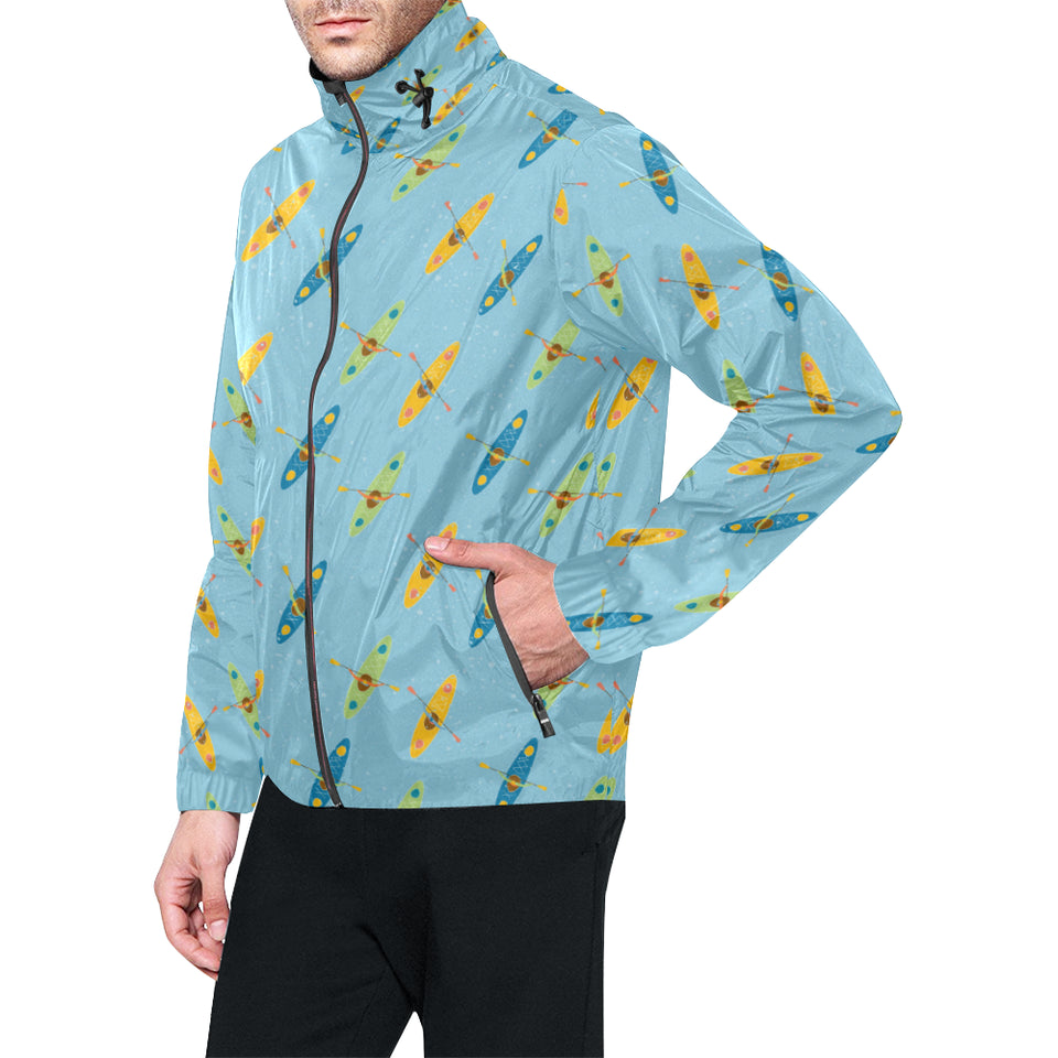 Kayak Pattern Print Design 04 Unisex Windbreaker Jacket