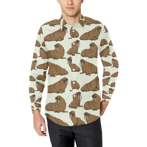 Walrus Pattern Print Design 03 Long Sleeve Dress Shirt