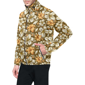 Lily Pattern Print Design 01 Unisex Windbreaker Jacket