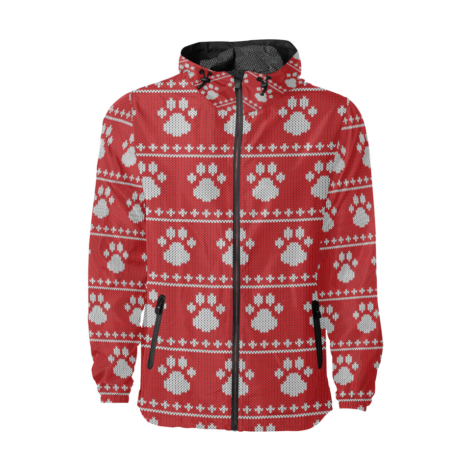 Knit Paw Pattern Print Design 03 Unisex Windbreaker Jacket