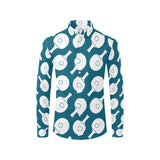 Ping Pong Pattern Print Design A02 Long Sleeve Dress Shirt