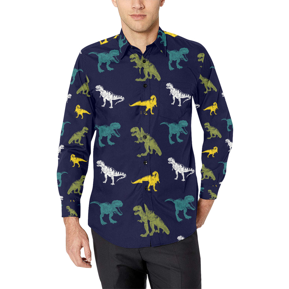T Rex Pattern Print Design A07 Long Sleeve Dress Shirt