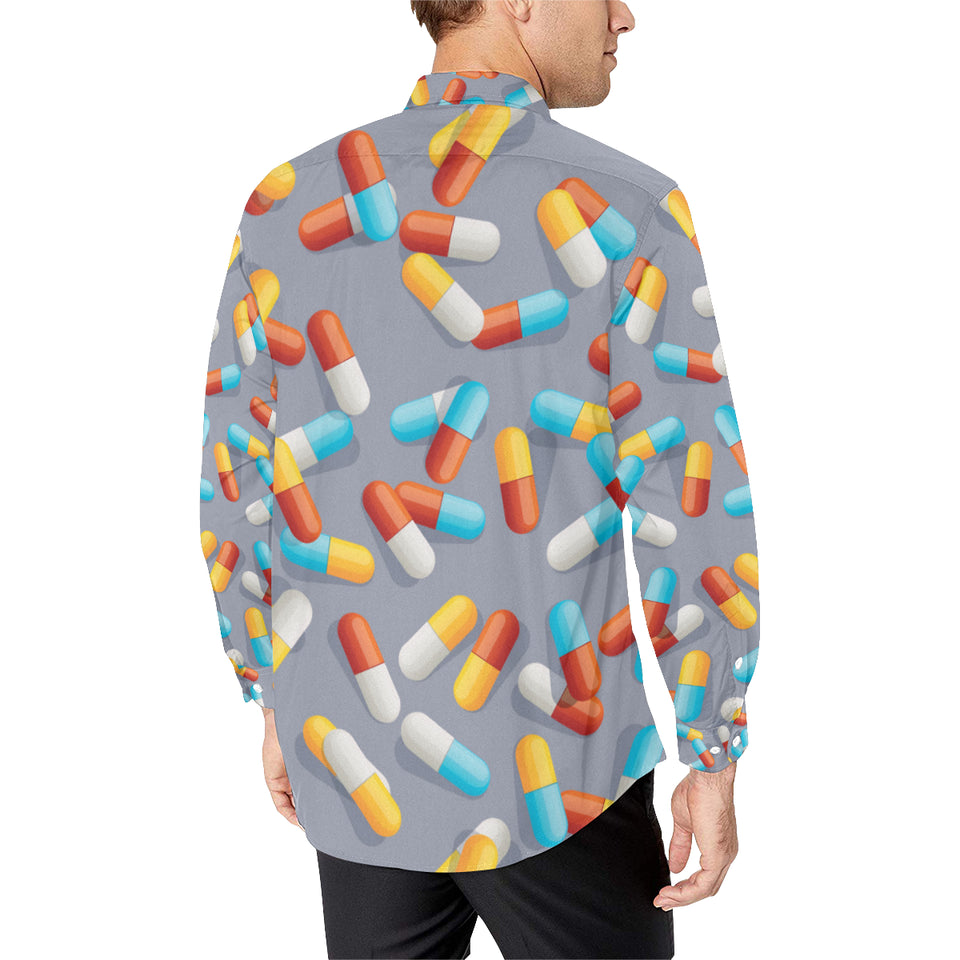 Pill Pattern Print Design A01 Long Sleeve Dress Shirt