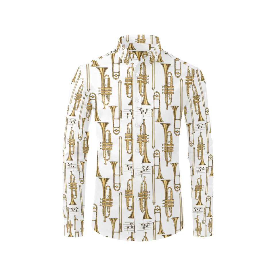Trombone Pattern Print Design 04 Long Sleeve Dress Shirt