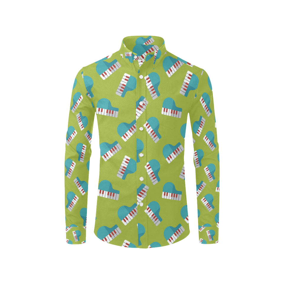 Piano Pattern Print Design 03 Long Sleeve Dress Shirt