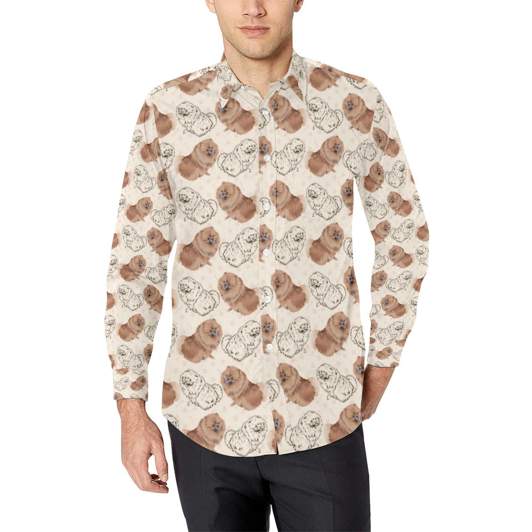 Pomeranians Pattern Print Design A01 Long Sleeve Dress Shirt
