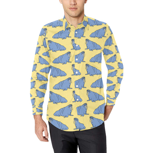 Walrus Pattern Print Design 02 Long Sleeve Dress Shirt