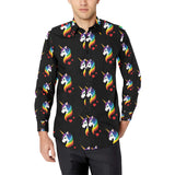 Rainbow Unicorn Pattern Print Design A03 Long Sleeve Dress Shirt