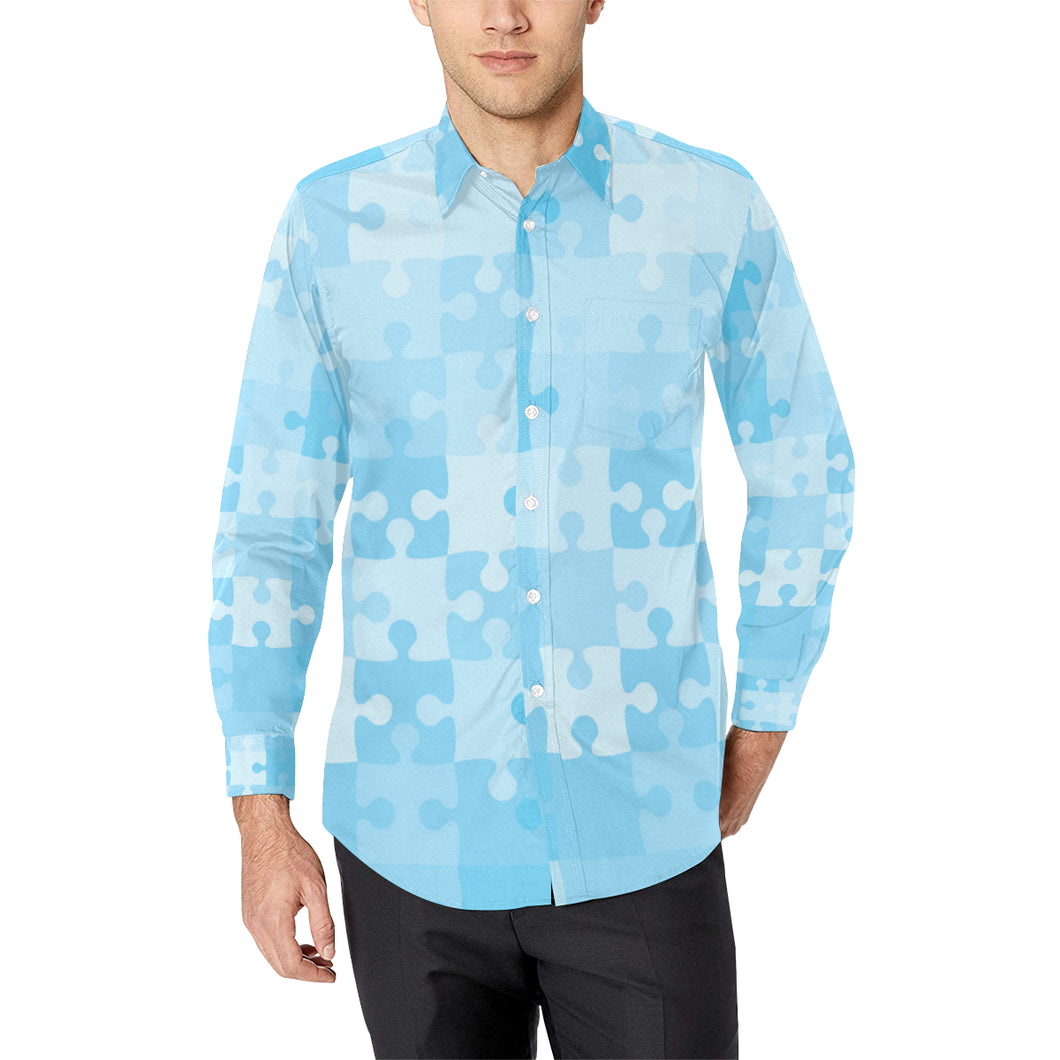 Puzzle Blue Pattern Print Design A04 Long Sleeve Dress Shirt