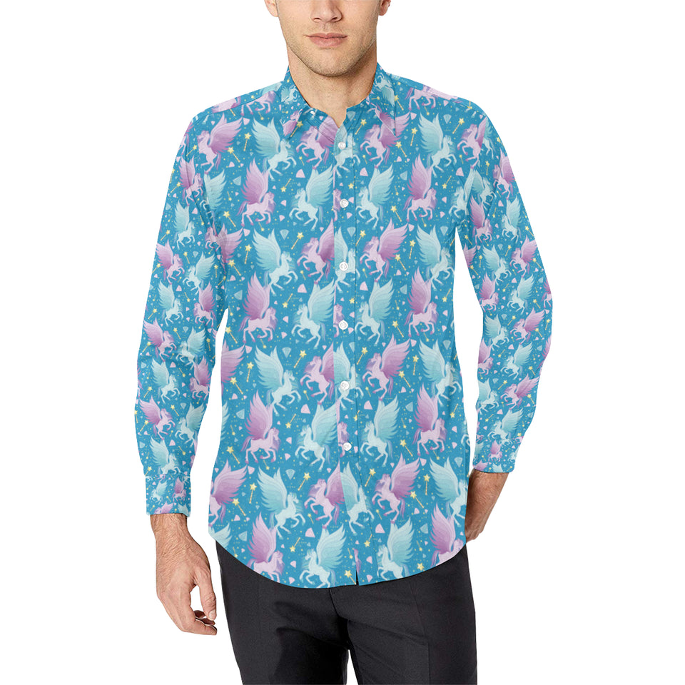 Pegasus Pattern Print Design 04 Long Sleeve Dress Shirt
