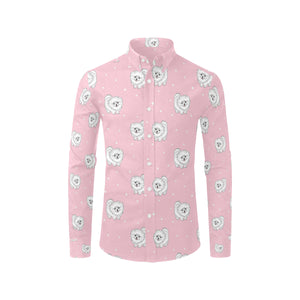 Pomeranians Pattern Print Design A02 Long Sleeve Dress Shirt