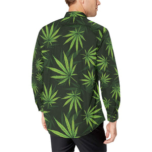 Pot Leaf Pattern Print Design A03 Long Sleeve Dress Shirt