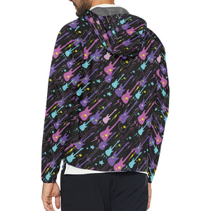 Electric Guitar Pattern Print Design 02 Unisex Windbreaker Jacket