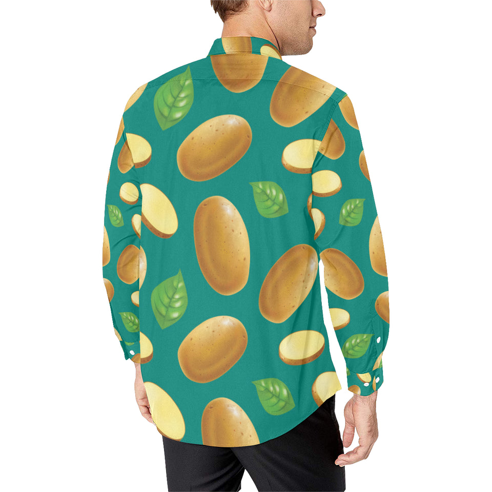 Potato Pattern Print Design A04 Long Sleeve Dress Shirt