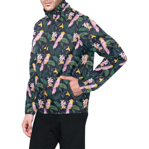 Cockatoo Pattern Print Design 03 Unisex Windbreaker Jacket