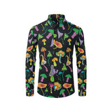 Psychedelic Mushroom Pattern Print Design A02 Long Sleeve Dress Shirt