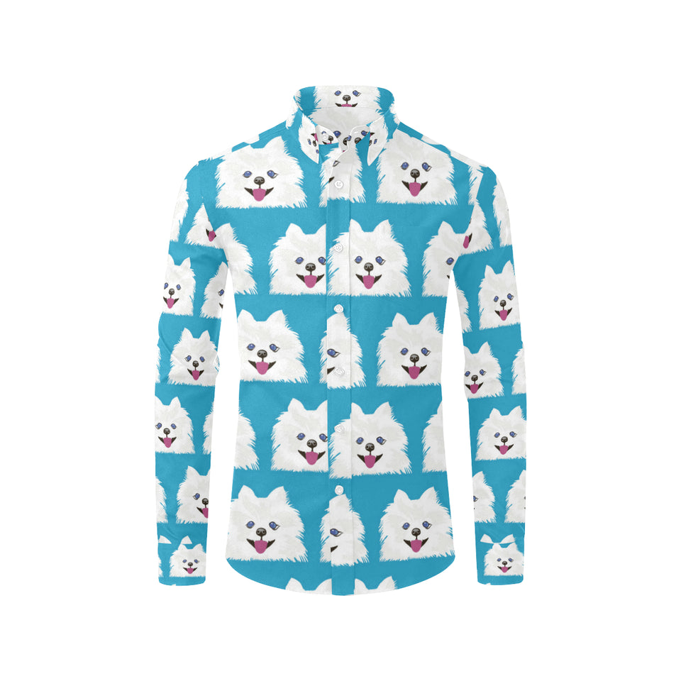 Pomeranians Pattern Print Design A05 Long Sleeve Dress Shirt