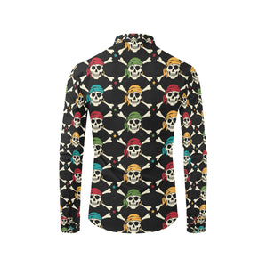 Pirate Pattern Print Design A01 Long Sleeve Dress Shirt