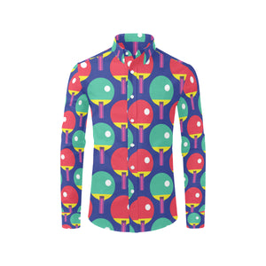 Ping Pong Pattern Print Design A03 Long Sleeve Dress Shirt