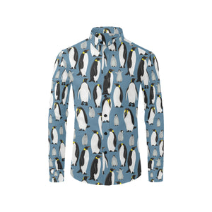 Penguin Pattern Print Design A03 Long Sleeve Dress Shirt