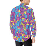 Psychedelic Mushroom Pattern Print Design A03 Long Sleeve Dress Shirt