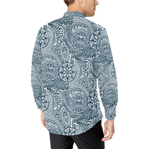 Polynesian Pattern Print Design A03 Long Sleeve Dress Shirt
