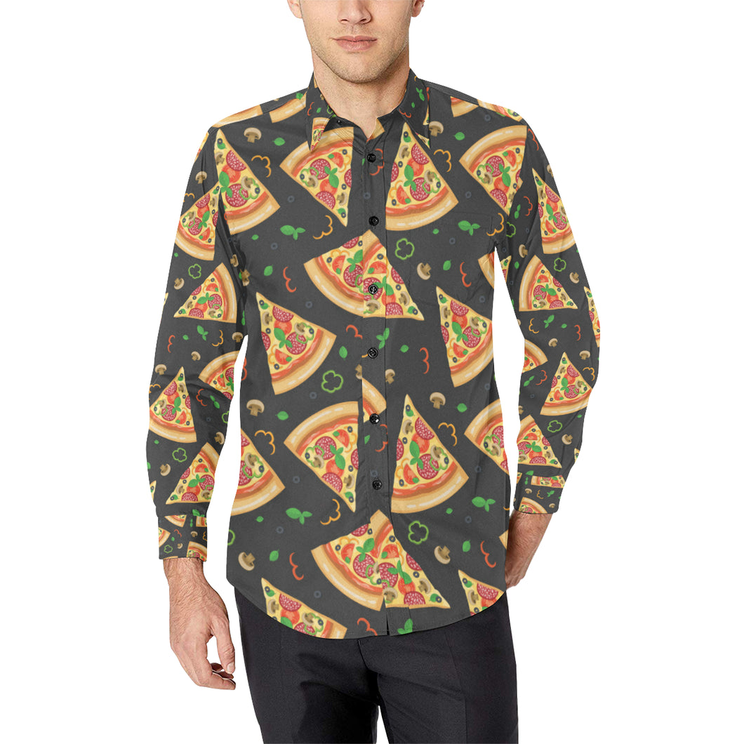 Pizza Pattern Print Design A02 Long Sleeve Dress Shirt