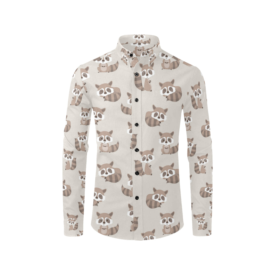 Raccoon Pattern Print Design A05 Long Sleeve Dress Shirt