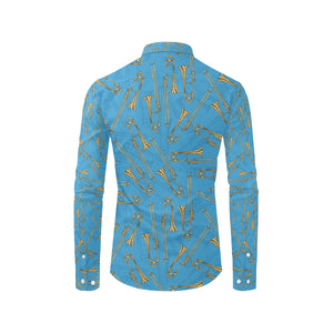 Trombone Pattern Print Design 01 Long Sleeve Dress Shirt